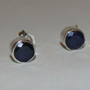 Sterling Silver Faceted Blue Sapphire Bezel Set Ea